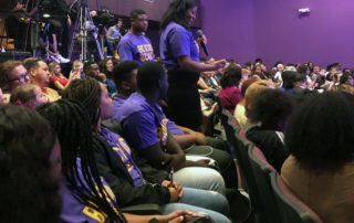 Keturah Davis asks Elizabeth Warren a question at a criminal justice forum at Benedict College on October 27, 2019.